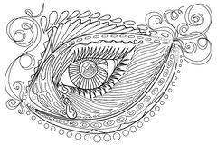 Zen tangle stylized abstract fish and eye, isolated on white background. Hand drawn sketch for adult antistress coloring page, T-s. Hirt emblem, logo, tattoo Stock Photo