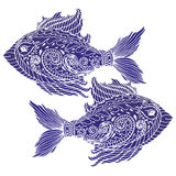 Zen tangle stylized abstract fish, isolated on white background. T-shirt emblem, logo, tattoo with doodle, zen tangle, floral elements Royalty Free Stock Photo
