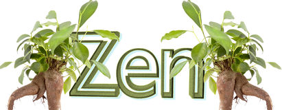 Zen text with leafs Stock Photo
