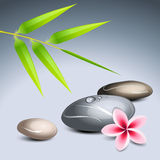 Zen theme 2. With bamboo and colored pebbles royalty free illustration