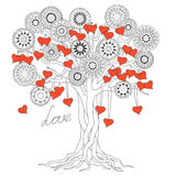 Zen tree of love with mandalas Stock Photography