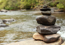 Zen at the Water. Zen rocks piled by the water Royalty Free Stock Photo