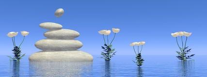 Zen white poppies - 3D render Royalty Free Stock Photos