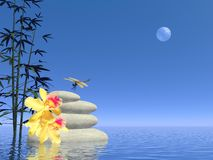 Zen white stones - 3D render Stock Photo