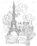 Zen wieży eifla sztuka stylizujący wektorowy doodle ilustracja wektor