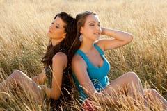 Zen women in a field Royalty Free Stock Image