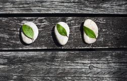 Zen wooden background with grey stones and green leaves. Top view stock photography