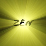 Zen word sun light flare. Zen letters illustrated with powerful sun light halo. Extended flares for cropping royalty free illustration
