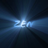Zen word bright light flare. Zen illustrated with powerful blue light halo. Meaning enlightenment, mindfulness, meditation, well-being. Extended flares for royalty free illustration