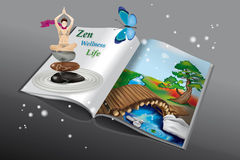 Zen and Yoga Book. Book with Zen Landscape and Yoga Girl Royalty Free Stock Image
