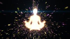 Zen, yoga et mindfulness avec de l'énergie rougeoyante illustration de vecteur