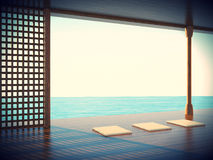 Zen yoga room in the coastal areas Space. Of the beautiful and unique perspective stock illustration