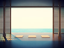 Zen yoga room in the coastal areas Space Royalty Free Stock Photo