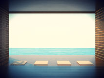 Zen yoga room in the coastal areas Space Stock Photography