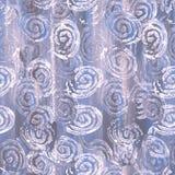 Zen zawijasa wzór - biel okręgi na szarym i błękitnym tle Obraz Stock