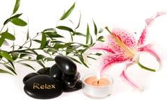 Zen zdroju leluja i kamienie zdjęcie royalty free