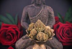 Zenachtergrond met rozen en cannabisknoppen - medische marihuana stock foto's