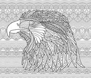 Zenart. Coloring book page for adults. Hand-drawn figure of an eagle with patterns Royalty Free Stock Photography