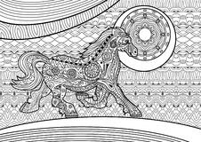 Zenart. Running horse on the pattern background. Coloring book Royalty Free Stock Images