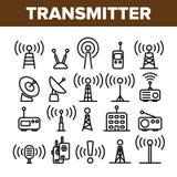 Zender, Radio Geplaatste Toren Lineaire Vectorpictogrammen stock illustratie