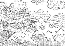 Zendoodle design of airplane for illustration. Banner,poster, adult coloring book page and other design element. Stock stock illustration