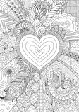 Zendoodle design of heart shape on abstract line art background design Stock Photo