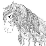 Zendoodle design of horse for adult coloring book for anti stress Royalty Free Stock Image