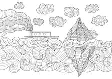 Zendoodle design of seascape with running vessel. And iceberg for illustration and adult coloring for anti stress - Stock Vector royalty free illustration