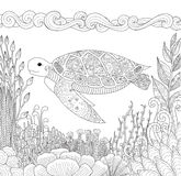 Zendoodle design of turtle swimming in ocean and beautiful corals Royalty Free Stock Photography