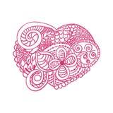 Zendoodle in hartvorm voor het kleuren van boeken voor de grafische volwassene, kaarten van Valentine ` s, T-shirt, tatoegering e stock illustratie