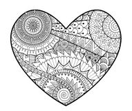 Zendoodle in heart shape for coloring books for adult  Royalty Free Stock Photos