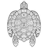 Zendoodle stylized of beautiful turtle for tattoo,T-Shirt design and coloring book for adult Stock Photo