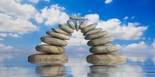 ZENES Stone en fondo azul del mar y del cielo ilustración 3D Foto de archivo