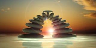 ZENES Stone en fondo del mar y del cielo ilustración 3D Imagen de archivo libre de regalías