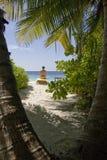 Zenfrauen auf weißem Sandstrand Maldives stockbild