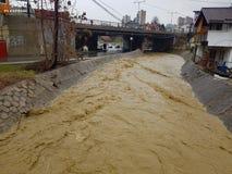 Zenica Flood. A massive flood in Zenica, Bosnia stock photo
