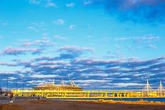 Zenit arena przy zmierzchem w słońcu, 2018 może St Petersburg obraz royalty free