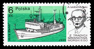 Zenit, A. Ledochowski, Training ships serie, circa 1980. MOSCOW, RUSSIA - OCTOBER 6, 2018: A stamp printed in Poland shows Zenit, A. Ledochowski, Training ships royalty free stock images