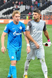 Zenit players goa away from the field Royalty Free Stock Photo