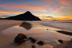 Reflections Zenith Beach Port Stephens Stock Images