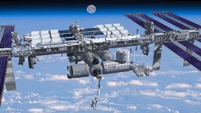 Zenith image of the  International Space Station flying above Ea Royalty Free Stock Images