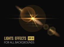 Zenith sun shine through lens light effect royalty free illustration
