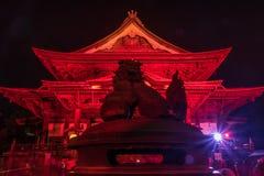 Zenkoji belysning som firar olympics royaltyfri foto