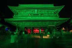 Zenkoji belysning som firar olympics arkivfoto