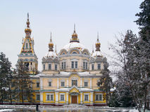 Zenkov Cathedral in Almaty. Russian Orthodox cathedral located in Panfilov Park in Almaty, Kazakhstan. Completed in 1907, it is the second tallest wooden Stock Images