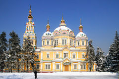Zenkov cathedral in Almaty, Kazakhstan. Russian Orthodox cathedral located in Panfilov Park in Almaty, Kazakhstan. Completed in 1907, it is the second tallest Stock Image