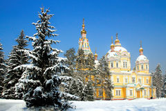 Zenkov Cathedral in Almaty, Kazakhstan. Russian Orthodox cathedral located in Panfilov Park in Almaty, Kazakhstan. Completed in 1907, it is the second tallest Royalty Free Stock Images