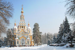 Zenkov Cathedral in Almaty, Kazakhstan. Russian Orthodox cathedral located in Panfilov Park in Almaty, Kazakhstan. Completed in 1907, it is the second tallest Royalty Free Stock Photos