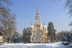Zenkov Cathedral in Almaty. Russian Orthodox cathedral located in Panfilov Park in Almaty, Kazakhstan. Completed in 1907, it is the second tallest wooden Royalty Free Stock Photos