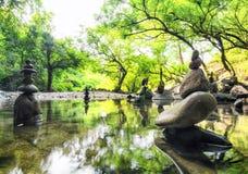 Zenmeditationlandskap Lugna och andlig naturmiljö